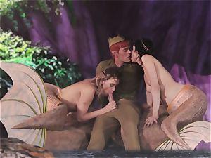 hot mermaid three-way with Aiden Ashley and Mia Malkova