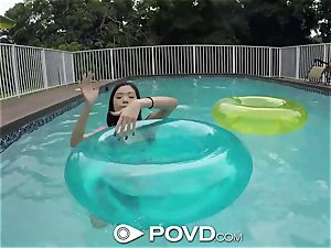 POVD drenched puss plumbed poolside