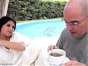 senior daddy pokes his nice new teenage stepdaughter Coco De Mal