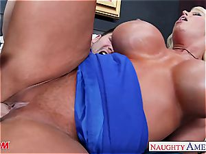 off the hook Alura Jenson takes a ample dong deep inwards her