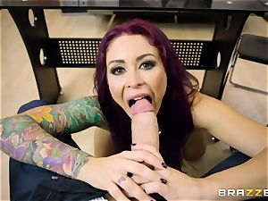 Mature tatted assistant Monique Alexander with gigantic fun bags entices her boss and bj's his fuck-stick