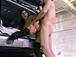 Romi Rain penetrated in the back of the car