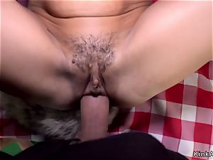 rump plugged stunner torn up in public