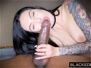 BLACKEDRAW Canadian girlfriend takes large bbc in her arse