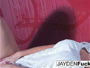Jayden Jaymes Gets horny Against a red Wall