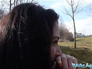 Public Agent Russian waitress fucked outside in public