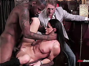 steaming wife India Summer orgasming on a dark-hued beef whistle