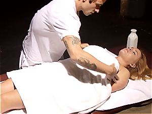 crazy massagist makes Krissy Lynn jiggle after voluptuous love making