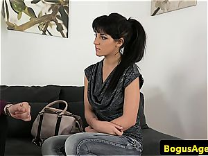 mind-blowing Bella idolizes the audition agent's bone until he spews over her