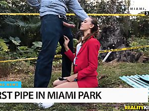 squirt fuck-stick pours out somewhere in Miami Park - Charity Crawford