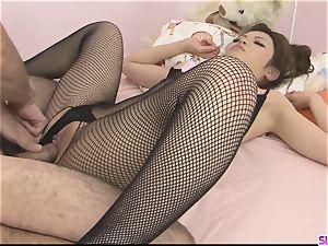 Yurika Gotou in fishnet ream her gams before her boyfriend