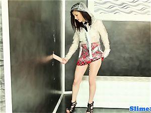 Bukakke college girl jerking at gloryhole