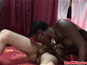 dark-hued euro call girl being pussyeaten
