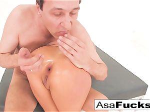 Asa Akira has a hot rectal threeway