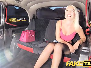 faux taxi marvelous blonde in tight denim shorts