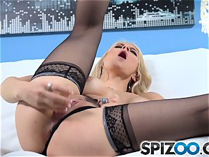 Sarah Vandella using her glass fuck stick