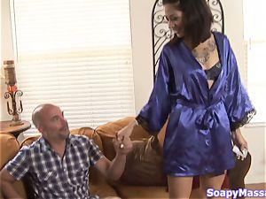Coco Velvett throating on her massage customer