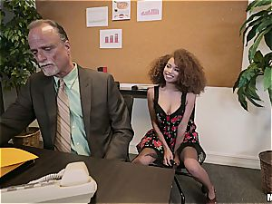 Curly haired ebony hotty drools a humungous boner