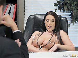 ultra-kinky brunette Angela milky poked over the table