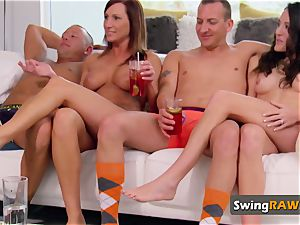 Couples undress their clothes off during meet and greet at living room