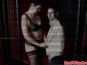 Dutch stockinged escort anally fingered