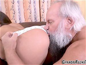 nubile wedged by elderly man