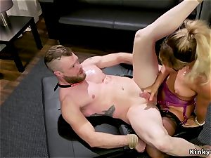 chesty milf dominates trussed up male gimp