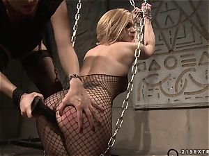 Katy Borman shackled blonde plow with fuck stick in the caboose