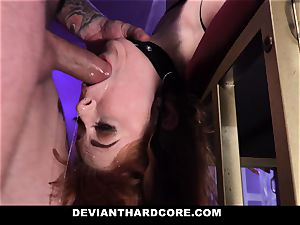 DeviantHardcore - warm redhead Gets facehole plumbed