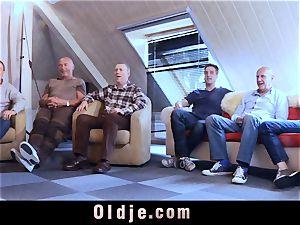 six oldman smashing in group a wondrous torrid blond