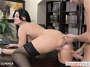 Stockinged India Summer plowing on the desk