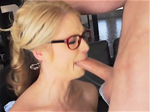Milffest pt2 Sarah Vandella cum splashed after a steaming nail