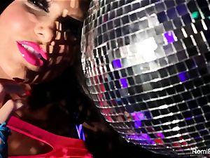Romi plays w disco ball then sticks fucktoys in her honeypot