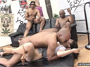 three ebony guys demolish the japanese bitches labia