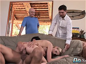 super-sexy light-haired wifey plows in front of hubby