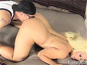 Lusty towheaded cutie Alura Jenson vulva thrashed by the gardener