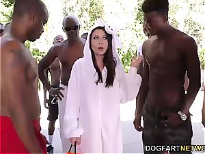 Melissa Moore deep throats several BBC's at once