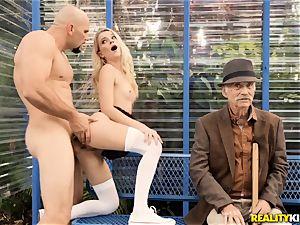 grandfather getting a eye full