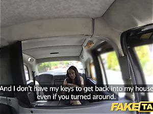 fake cab black-haired inhales tears up and takes it in the arse