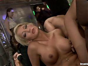 Bibi Fox with hottie mates crammed with warm cum