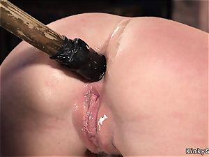 fettered ginger-haired whore ass fucking toyed