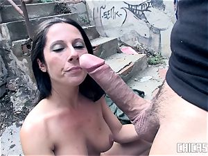 Chicas Loca - dark-haired Latina Noemi Jolie tears up outside
