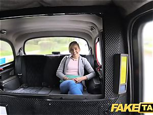 faux cab uber-cute petite teen gets free ride