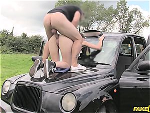 Liz Rainbow gets her poon screwed on top of a car