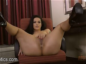 Katrina Jade arches over and gives you a show