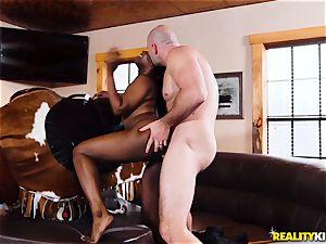 ebony cowgirl Skyler Nicole rides JMacs ginormous beef whistle