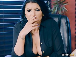 ultra-kinky black-haired mummy Romi Rain tucked in the rump in the office