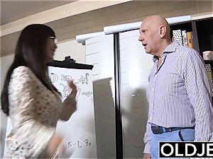 japanese stunner humped bald elder fellow she sucks spunk sex