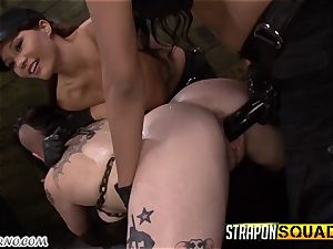 toasted emo female rock-hard fuckfest with 2 soldiers