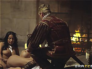 Alluring Anissa Kate and Jasmine Jae serve the king's will and shaft